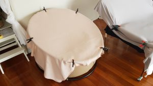 round beanbag for newborn photography by Victoria Burcusel