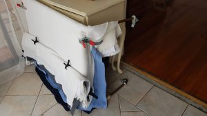 storage of the elevated dog bed for newborn photography