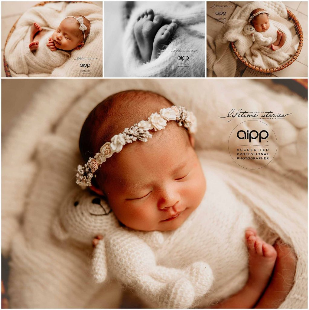 a series of images of a newborn baby girl posed on her back by Victoria Burcusel from Lifetime Stories Photography with studio located in Brisbane South
