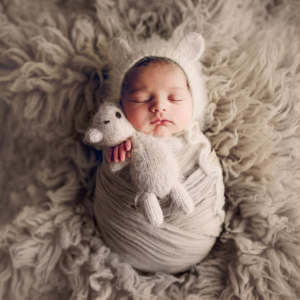 Wrapped baby having a teddy bear in his hands photographed while laid on his back by Lifetime Stories Photography Brisbane